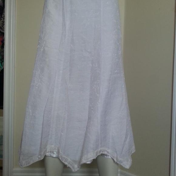ESHA White Cotton Peasant Skirt